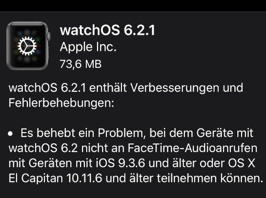 watchOS 6.2.1 installiert (Foto: SmartPhoneFan.de)