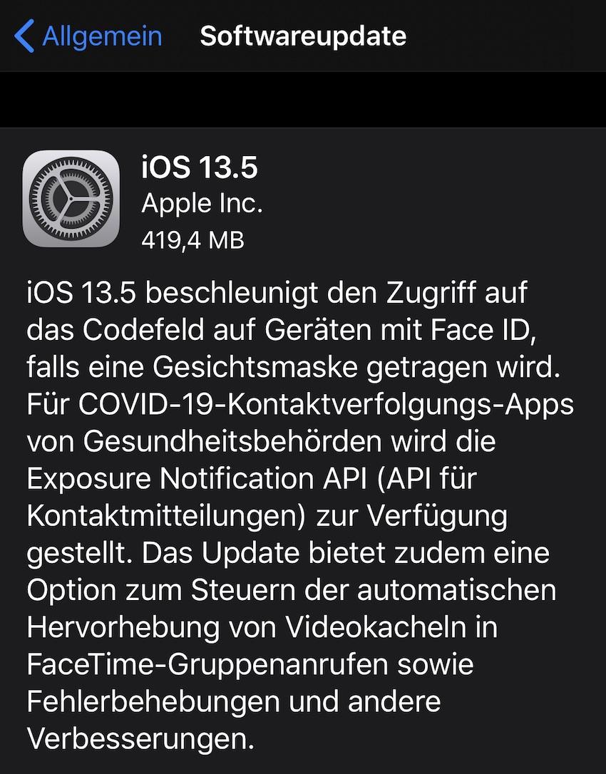 iOS 13.5 installiert (Foto: SmartPhoneFan.de)