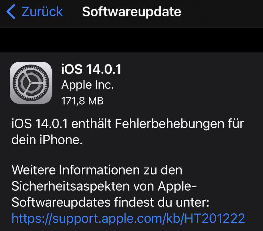 iOS 14.0.1 installiert (Foto: SmartPhoneFan.de)