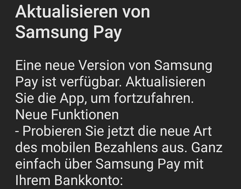 Samsung Pay App-Update (Foto: SmartPhoneFan.de)