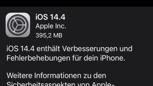 iOS 14.4 installiert (Screenshot: SmartPhoneFan.de)