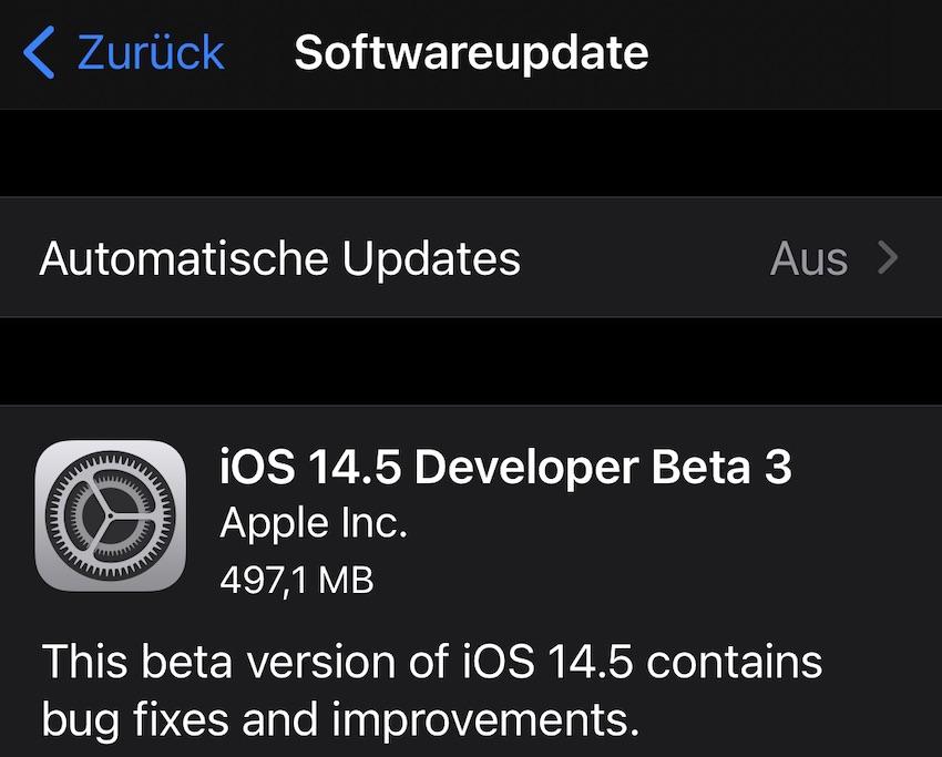 iOS 14.5 Beta 3 (Screenshot: SmartPhoneFan.de)