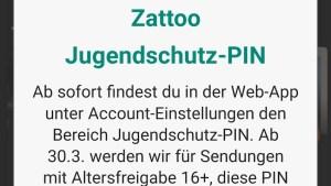 Zattoo startet Jugendschutz-PIN (Screenshot: SmartPhoneFan.de)