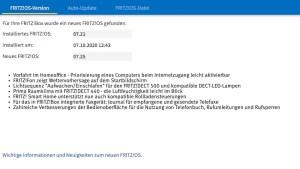 FRITZ!OS 7.25 installiert (Screenshot: SmartPhoneFan.de)