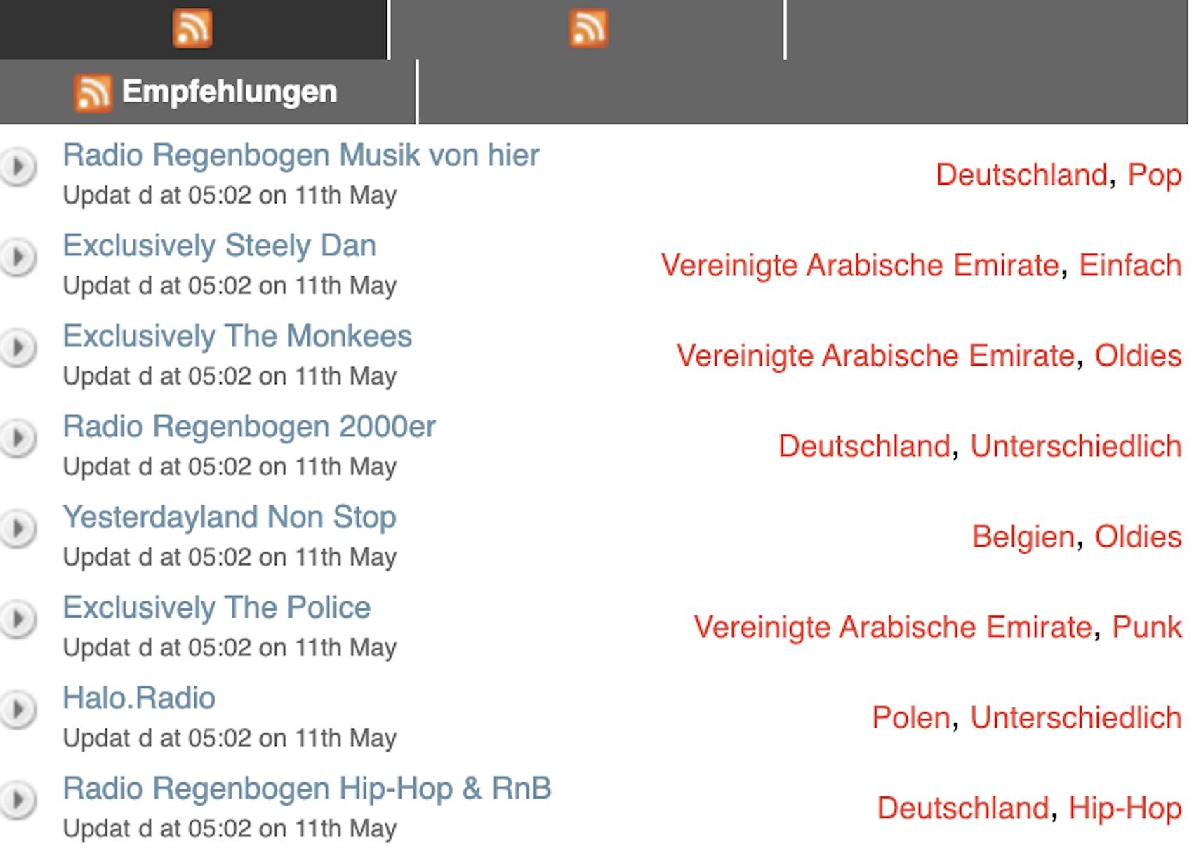 Reciva-Portal wird weiterhin gepflegt (Screenshot: SmartPhoneFan.de)