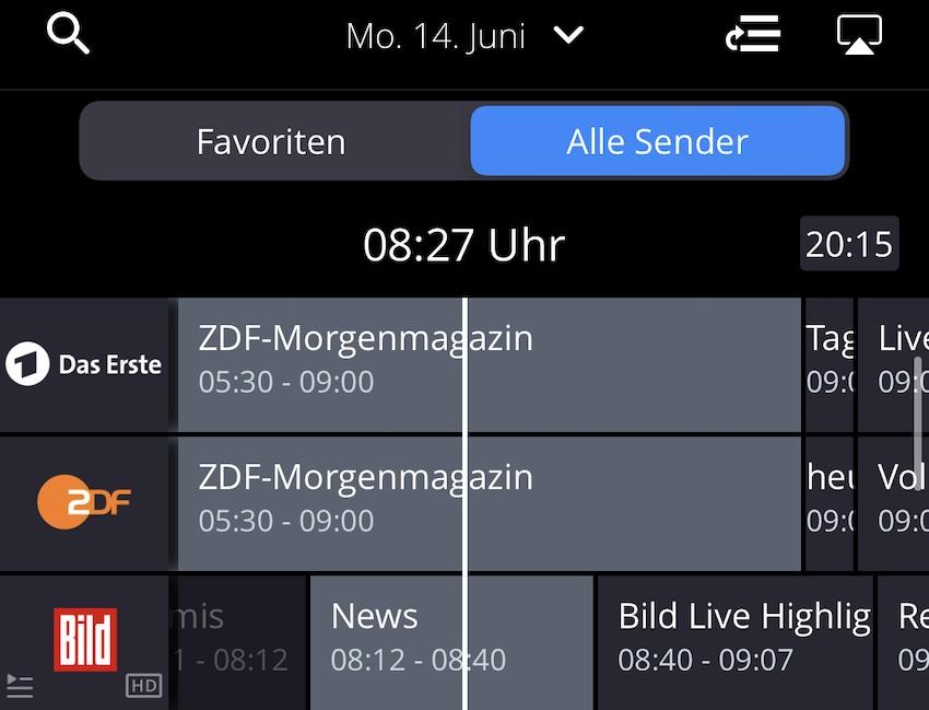 waipu.tv EPG in der iPhone-App (Screenshot: SmartPhoneFan.de)