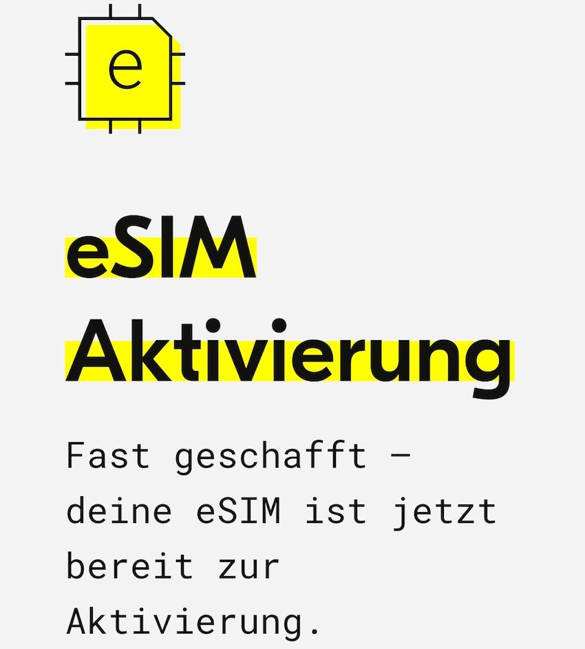 eSIM von fraenk (Screenshot: SmartPhoneFan.de)