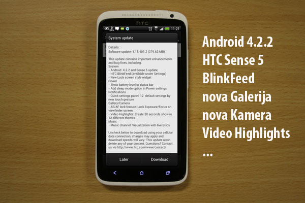 HTC One X Android 4.2.2 nadogradnja