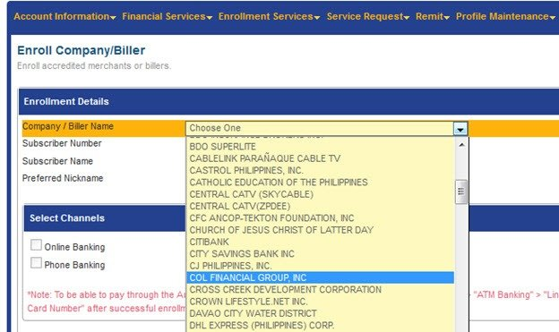 Online payment to COL Financial