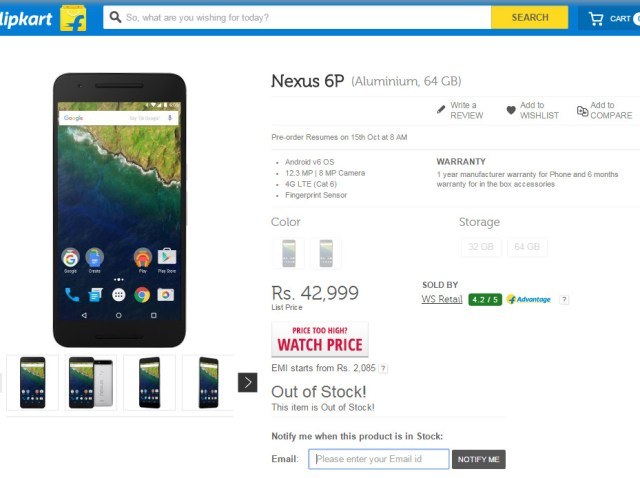 Nexus 6P sold out