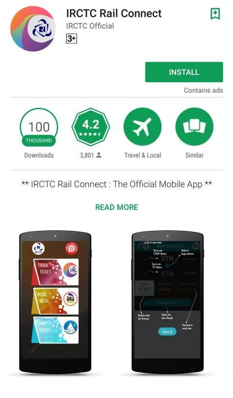 Rail Connect App- IRCTC
