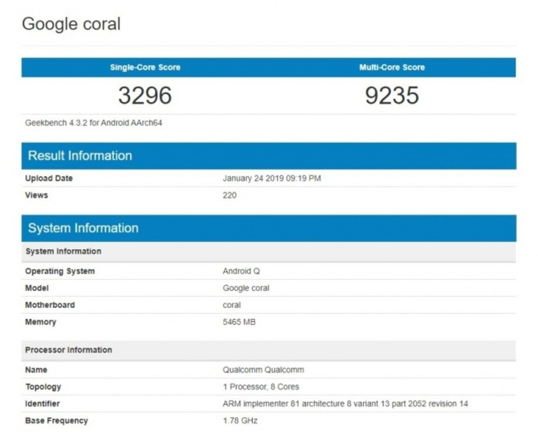 Google Coral Spec listing on Geekbench