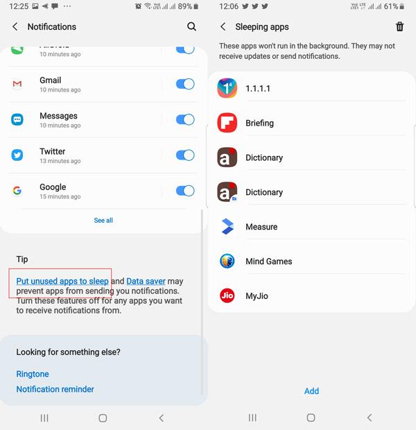 التطبيقات النائمة - واجهة One UI