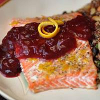 Nightshade Free Orange Pepper Salmon With Cranberry Sauce