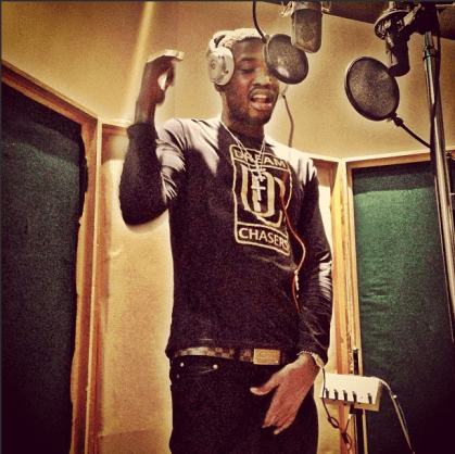 Meek Mill in studio