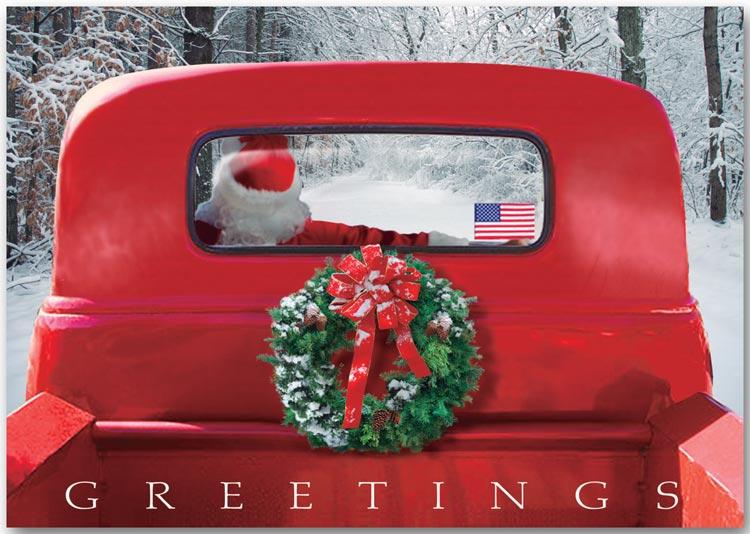 Patriotic Holiday Card 4 Wheeled Sleigh Ref HP13303