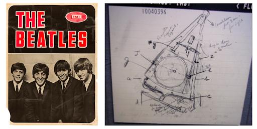 Imagen: cartel de The Beatles y un prototipo del primer CT diseñado por Hounsfield.