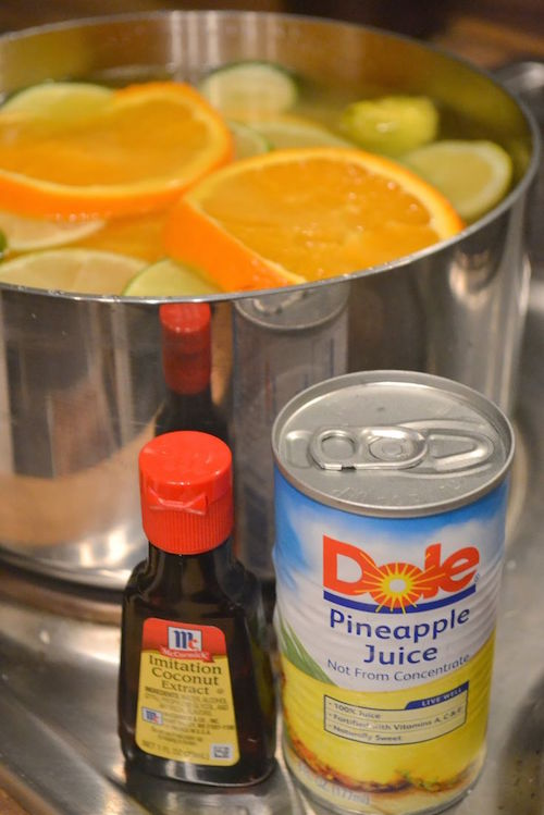 Love the smell of a tropical summer? Get the smell all year round with this easy stove top potpourri recipe including pineapple juice and coconut extract.