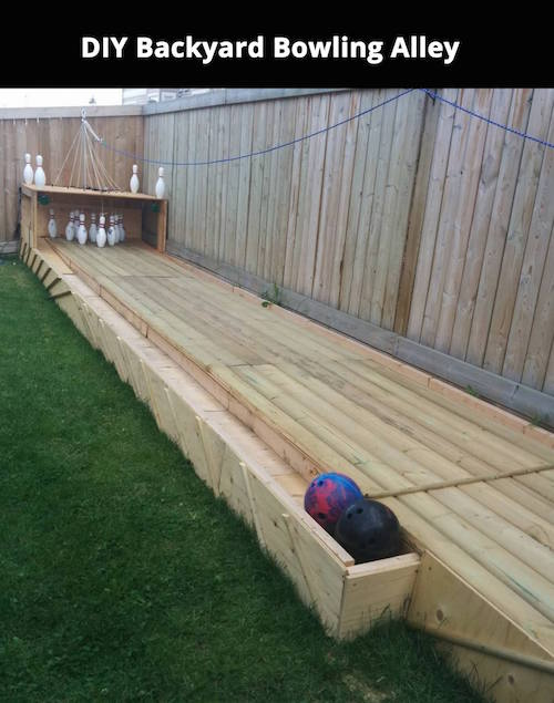 DIY backyard bowling alley. Neat!