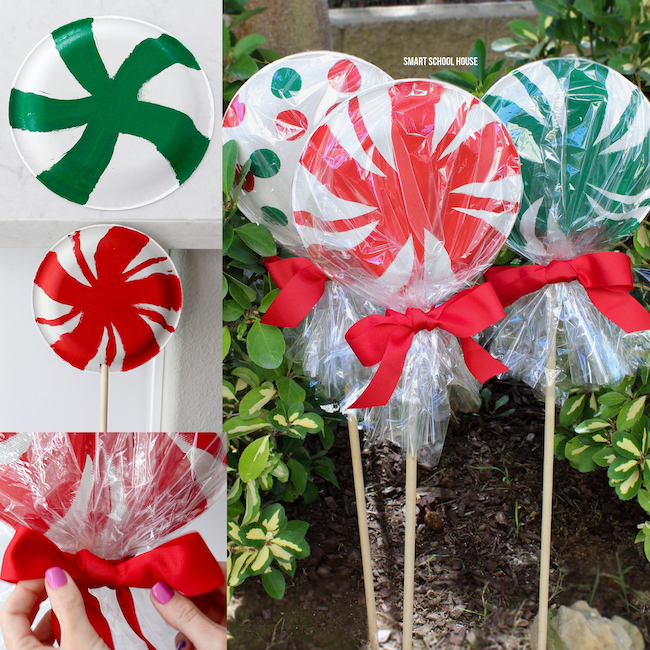 Giant Paper Plate Lollipops For Christmas Adorable Super Cute As A Garden Decoration