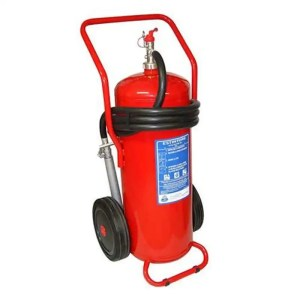 This is a picture of the 50 KG Fire Extinguisher that uses powder provided by Smart Security in Lebanon