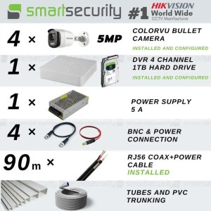 Colored Night Vision 4 TVI SECURITY CAMERAS 5MP Extreme HD Full Installation Package