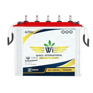 This is a picture of the Wings International Tubular battery 12V-220AH Deep Cycle provided by Smart Security in Lebanon