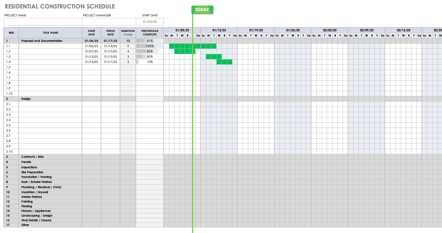 Free Construction Schedule Templates