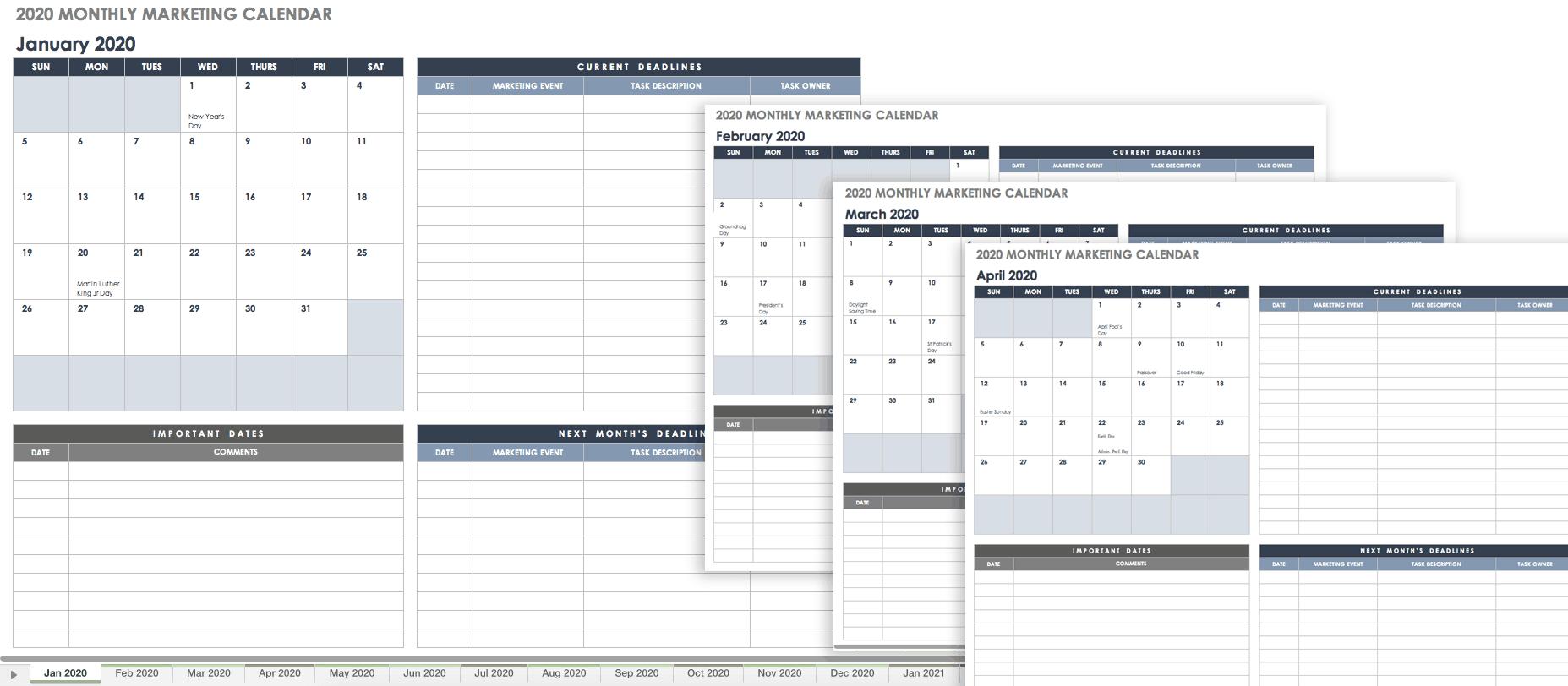 15 Free Marketing Calendar Templates