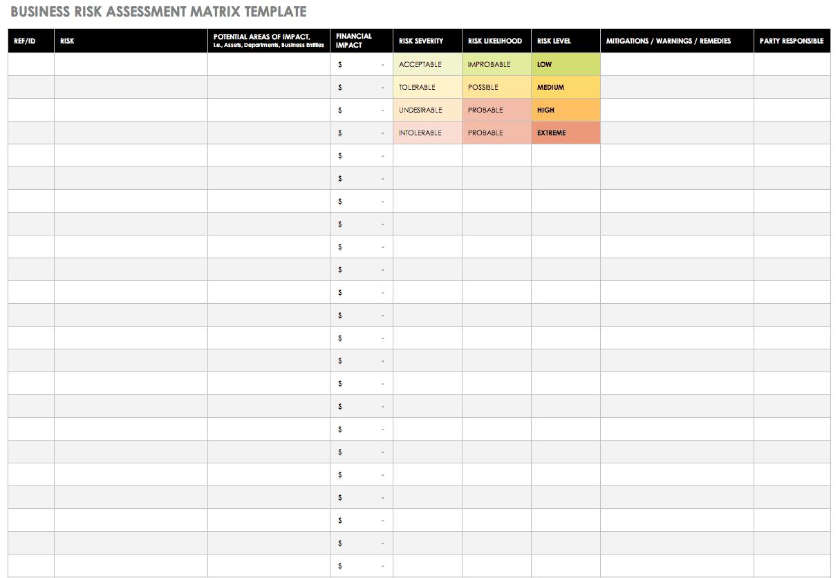 Download Free Risk Matrix Templates