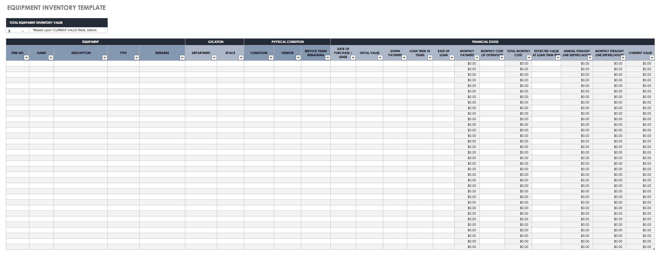 Spare Part Management Excel Template