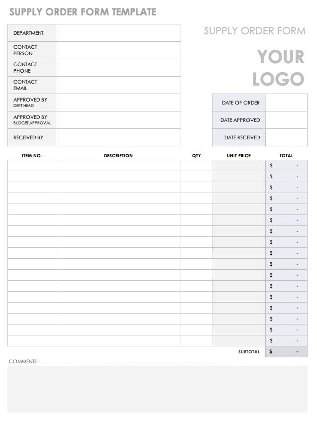 Free Order Form Templates Smartsheet