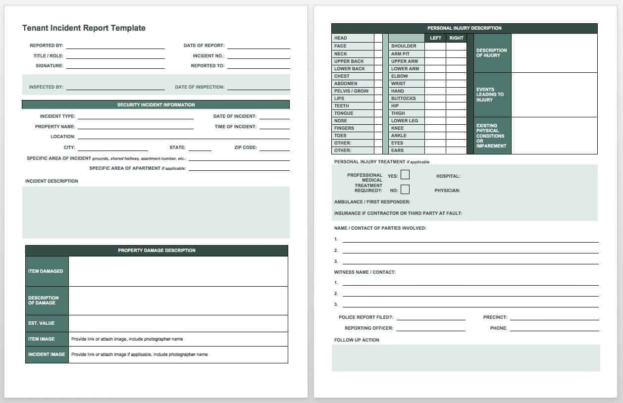 Free Incident Report Templates Amp Forms