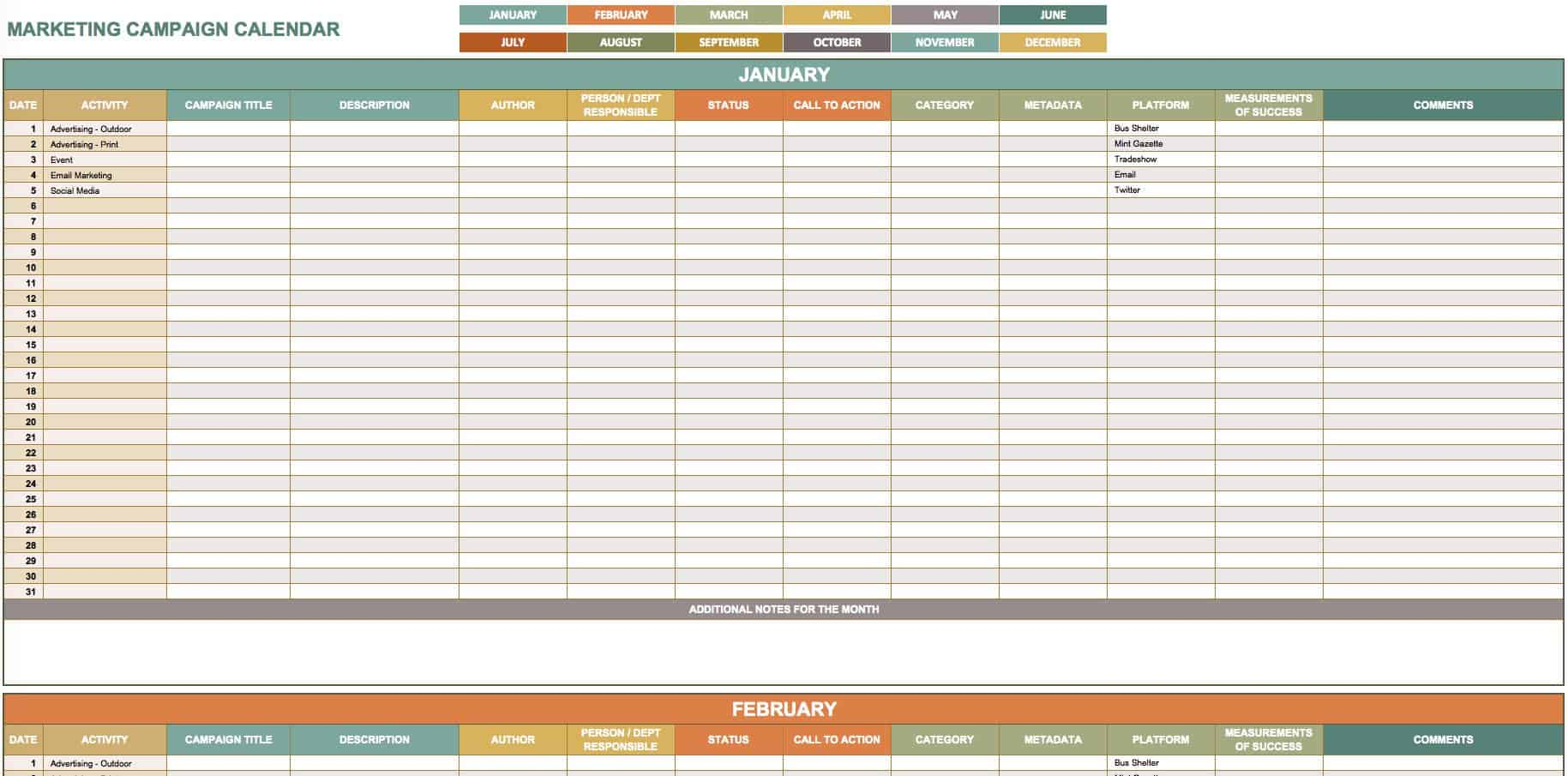 15 Free Marketing Calendar Templates Smartsheet
