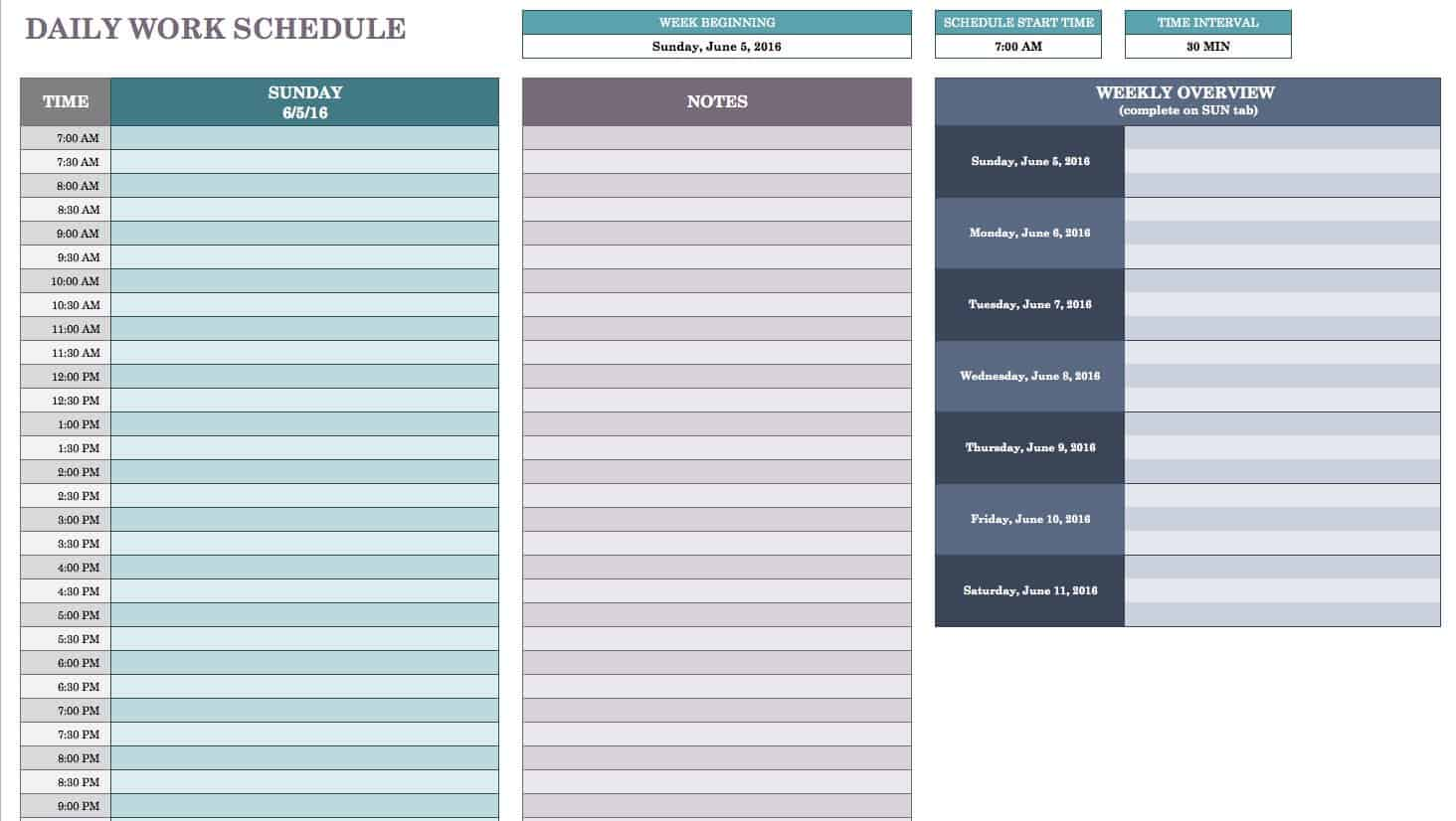 Free Daily Schedule Templates For Excel