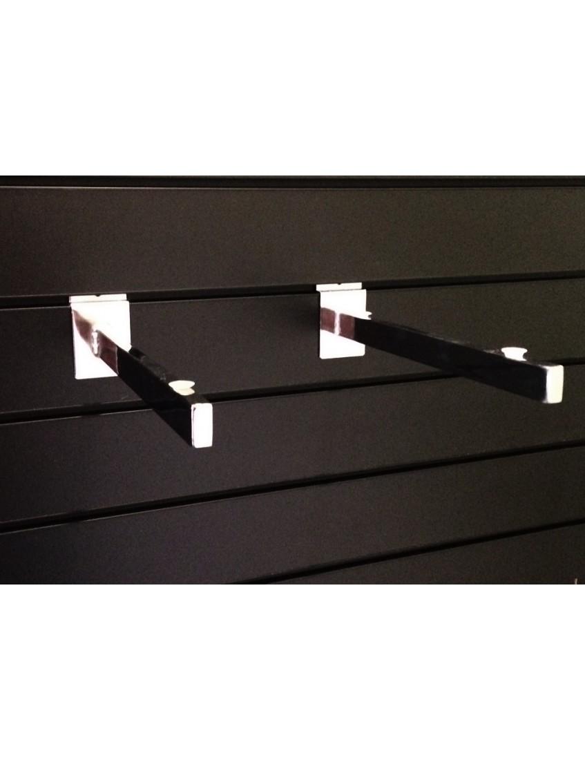 Slatwall Glass Shelf Bracket 300mm Chrome