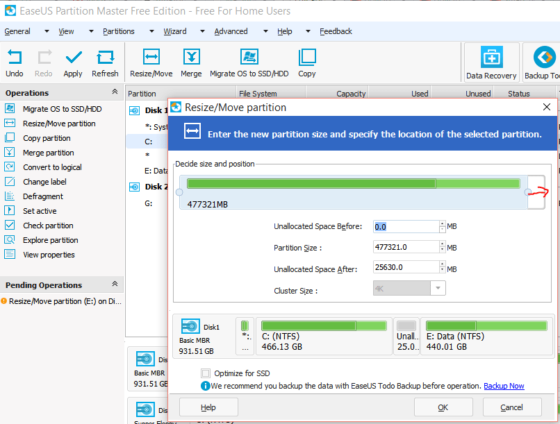how to increase C partition size