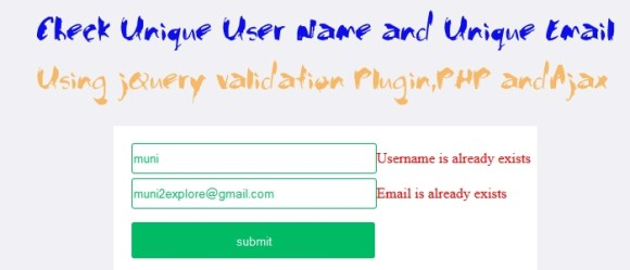 check unique Username and Email Availability using PHP, jQuery and Ajax