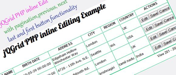 jQGrid PHP inline Editing Tutorial