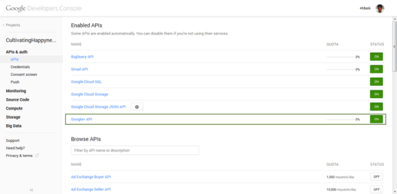 Enable Google Plus API on Google API Console