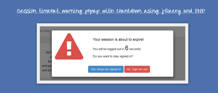 Session Timeout Warning Popup with Countdown Using jQuery and