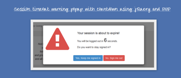 Session Timeout Warning Popup with Countdown
