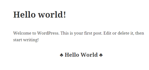 Simple HelloWorld WordPress Plugin