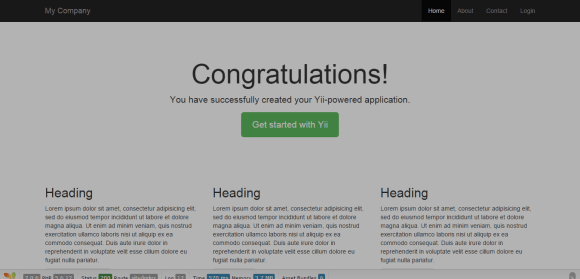 YII Installation Welcome Page