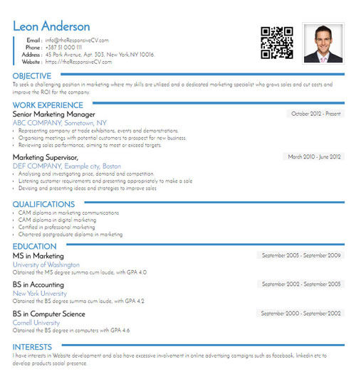 QR code CV created with mobile resume