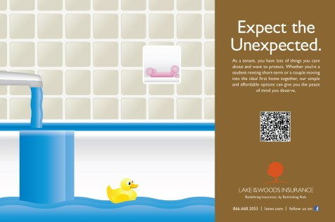 Bathroom stall ad for Lake of the Woods Insurance - Tenants Insurance - Fall 2014