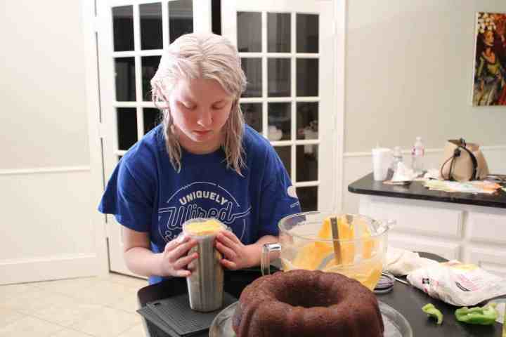Camille icing Cinderella cake