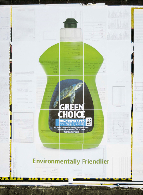 Green Choice dish-washing liquid: Recycled paper