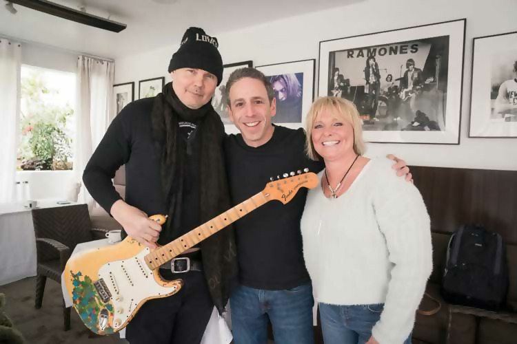Billy Corgan, Alex Heiche, and Beth James with Gish guitar