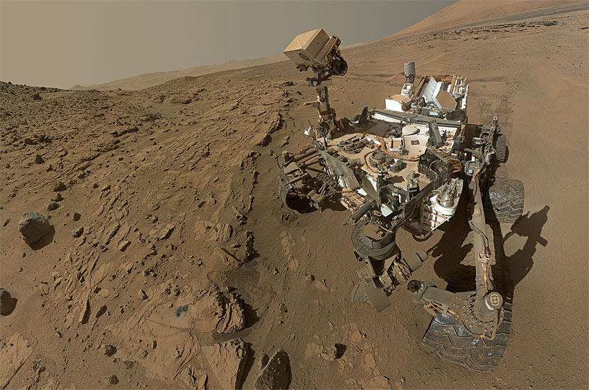 Curiosity rover self-portrait composed from arm camera images